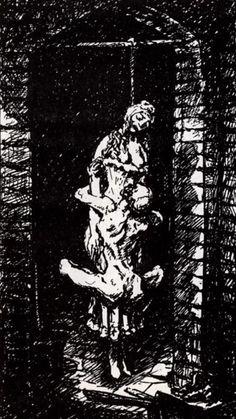 Im Keller (In the Cellar), from Ein Totentanz von Alfred Kubin. Die Blättner mit dem Tod (A Dance of Death by Alfred Kubin: The Prints about Death) (Berlin: Bruno Cassirer, Arte Horror, Horror Art, Dark Fantasy Art, Dark Art, Anne Bonny, Alfred Kubin, Satanic Art, Macabre Art, Occult Art