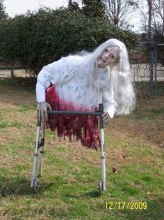 This would be so easy--walkers can be found at thrift stores and yard sales everywhere! #halloweendecorations