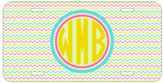 Personalized Monogrammed Chevron Yellow Pink License Plate Custom Car Tag L341