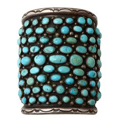 """Southwestern Turquoise Wide Cuff Bracelet...lovely turquoise """"bubbles"""""""