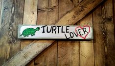 TURTLE LOVER Love Heart Art Sign On Reclaimed by MySalvagedPast