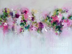 - Wall Art Ideas - Pink Abstract Painting Print, Giclee Print from Painting, Wall Art, Abstract Print, pink white green. Large Canvas Art, Abstract Canvas Art, Large Painting, Painting Prints, Art Prints, Painting On Metal, Painting Art, Colorful Abstract Art, Abstract Flowers