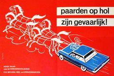 Linck- Kijk links daarna rechts / Paarden op hol zijn gevaarlijk ! / Maak uw voornemen kenbaar - ca. 1960  Lot van drie (3) preventie-affiches verspreid door Via Secura (nu het BIVV) te dateren omstreeks 19601) 'Kijk links daarna rechts'2)'Maak uw voornemen kenbaar'3)'Paarden op hol zijn gevaarlijk !' Druk: 3 x offsetlitho 12 gedrukt bij Delacre/ Charleroi en 3 bij André Beyaert & Zonen - Kortrijk Ontwerp: Linck (elke affiche is gesigneerd rechts of links onderaan)Conditie B : normale vouw…