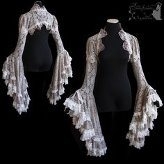 New shrug in dove grey with ivory lace ^^ For all about my designs, see: www.somniaromantica.com ^^