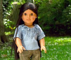Hydrangea shirt for American Girl dolls {by mimiville on Etsy}