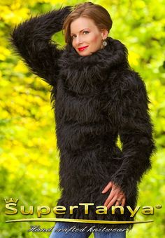 Black hand knitted fuzzy mohair sweater dress by by supertanya