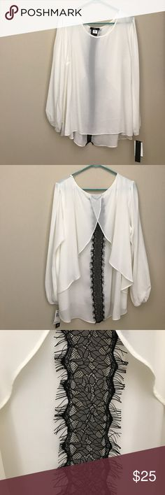 Beautiful white top Beautiful top with black trim down the back. Smoke free home. Macy's Tops Blouses
