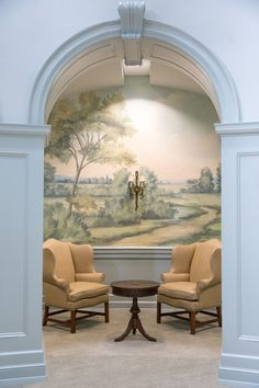 Scenic landscape mural wallpaper inspired by the English countryside, painted and printed by Susan Harter. Entrance foyer hall in Samford University in Alabama. Living Room Murals, Wall Murals, Fresco, Scenic Wallpaper, Wall Treatments, Living Room Designs, Diy Home Decor, Interior Design, House Styles