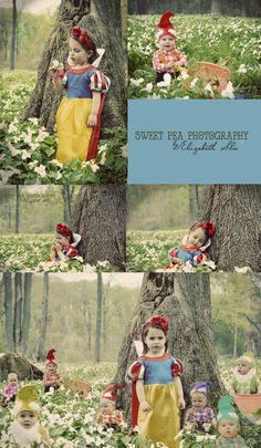 I love this gorgeous Snow White theme photo shoot! Those baby dwarfs are ADORABLE! Snow White and the Seven Dwarfs. 2 year old girl photo shoot ideas. Baby Halloween Outfits, Halloween Costumes For Kids, Baby Costumes, Princess Photo, Little Princess, Disney Princess, Toddler Photos, Baby Photos, Snow White Photos