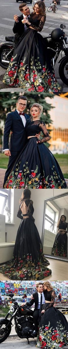Two Piece Round Neck Floral Black Satin Prom Dress with Appliques M1734#prom #promdress #promdresses #longpromdress #2018newfashion #newstyle #promgown #promgowns #formaldress #eveningdress #eveninggown #2019newpromdress #partydress #meetbeauty #rwopiece #roundneck #longsleeve #floral #black #satin #applique