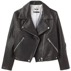 Acne Rita Leather Jacket ($1,200) liked on Polyvore ❤ liked on Polyvore featuring outerwear, jackets, coats, coats & jackets, 100 leather jacket, leather jackets, genuine leather jackets and real leather jackets