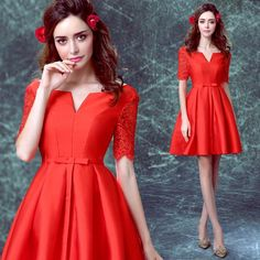 Red Cocktail Dress 2016 New Sexy Backless Fashion Homecoming Dresses Vintage Half Sleeved Elegant Formal Party Dresses Online with $57.6/Piece on Mermaid_shop's Store | DHgate.com