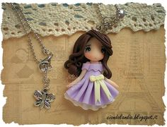 Princess doll necklace Polymer clay lilac dress