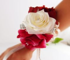 Wrist Corsage-fuschia Ivory Apple Red Wedding Bridal Prom Military Ball Party