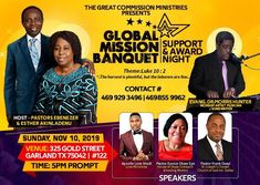 Global Mission Banquet Support & Award Night - Christian Professional Network Event By The Great Commission Ministries