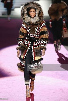 A model walks the runway at the Dsquared2 show during the Milan Fashion Week Autumn/Winter 2015 on March 2, 2015 in Milan, Italy.