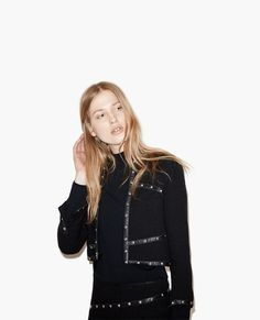 Short hopsack jacket with studded leather details - Jackets - The Kooples