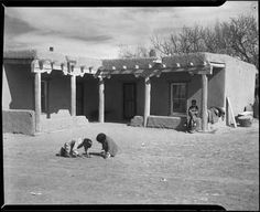 Adobe home, Trampas, New Mexico, ca. 1935. Photo by T. Harmon Parkhurst. Palace of the Governors Photo Archives 011567.