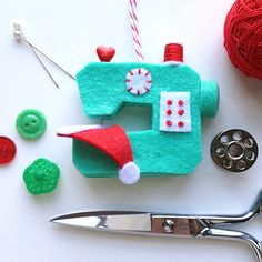 SEWING PATTERN ONLY. Finished products and materials are not included. --------------------------------------------------------------------------------------------------- This sweet little sewing machine ornament will appeal to those that sew and anyone that appreciates handmade things. Imagine a tiny elf helping to stitch up a new hat for a tiny Santa! Easy to make with felt, glue, and a few embroidery stitches. Great looking on your tree or to make as a gift.  My 5-page printable PDF…
