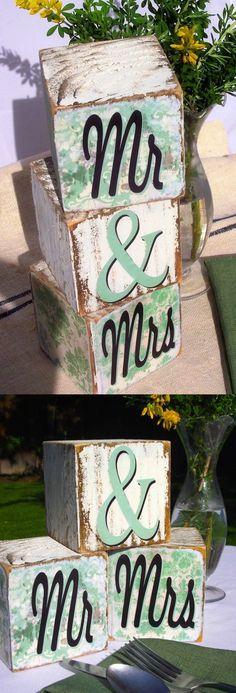 These blocks are the perfect unique DIY wedding decor - they make great centerpieces or even table numbers, and you can personalize to match your palette.