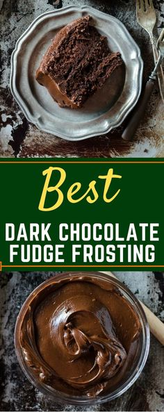 This is the BEST homemade Dark Chocolate Fudge Frosting recipe! It's perfect to top brownies, frost a yellow cake, or just eat by the spoon! You won't believe how easy it is to make homemade chocolate icing! Homemade Chocolate Icing, Homemade Chocolate Frosting, Dark Chocolate Cakes, Chocolate Recipes, Dark Chocolate Fudge Cake Recipe, Homemade Cake Icing, Homemade Brownies, Chocolate Buttercream, Mint Chocolate