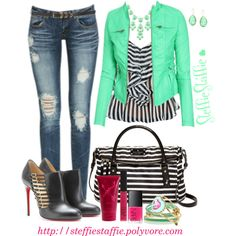 Mint & Stripes by steffiestaffie on Polyvore