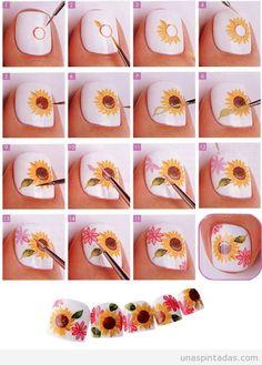 Sunflower Nail Tutorial colorful nails nail art summer nails diy nails how to nail designs manicures tutorials spring nails nail tutorials Fancy Nails, Diy Nails, Cute Nails, Nail Art Designs, Pedicure Designs, Easy Toenail Designs, Nails Design, Summer Toe Nails, Spring Nails