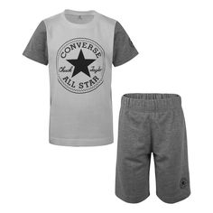 This boys' Converse tee and shorts set features a logo graphic with French terry shorts for comfort. Cute Quotes For Kids, Boys Converse, Cotton Shorts, French Terry, Baby Boy Outfits, Graphic Tees, Short Sleeves, Mens Tops, Grey
