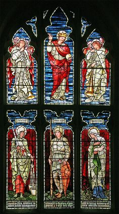 """Stained glass in St. Mary's parish church, Godmanchester,  Cambridgeshire, depicting the personifications of justice, courage and  humility. The church website says this was made by Morris, and is  """"in the style of Edward Burne-Jones"""