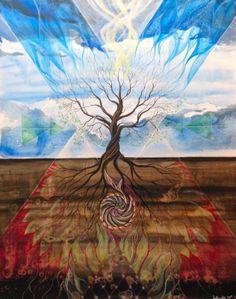 """The tree of life"" (Livets træ), Lisbeth Thygesen, acrylic paint on canvas, 80x100 cm, 2014."