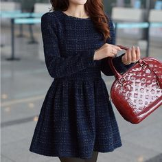 navy dress and red Louis Vuitton. love the simplicity and elegance :) i also like the long sleeves and thick fabric of the dress!