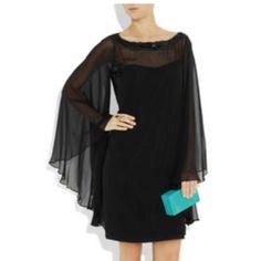 Notte by Marchesa silk-chiffon black dress