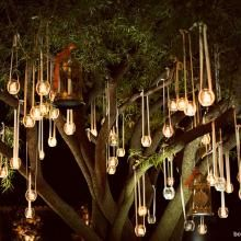 Various glass flower vases and globes lit with candles hanging in tree. Perfect for the evening garden party/ wedding reception at night Hanging Candles, Hanging Lights, Hanging Jars, Floating Candles, Tree Lighting, Outdoor Lighting, Lighting Ideas, Party Lighting, Backyard Lighting
