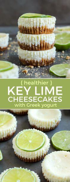 Key Lime Cheesecakes with Greek Yogurt Healthier cheesecake recipe! Key Lime Cheesecake with Greek Yogurt. These are really easyHealthier cheesecake recipe! Key Lime Cheesecake with Greek Yogurt. These are really easy Healthy Cheesecake Recipes, Yogurt Recipes, Tart Recipes, Pureed Recipes, Fruit Recipes, Paleo Dessert, Dessert Recipes, Dinner Recipes, Healthy Yogurt