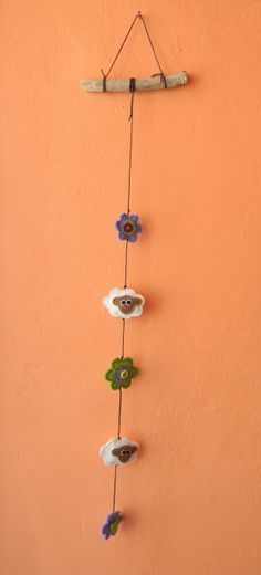Flowers and sheeps decorative felt mobile