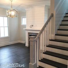 Stair Inspo White Farmhouse, Farmhouse Style, Norton Commons, Grey And White, Gray, Open House, Great Rooms, Future House, Stairs