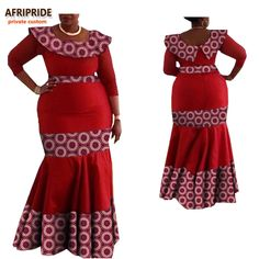 2017 african print autumn dress for women AFRIPRIDE three quarter sleeve O-neck ankle-length trumpet women cotton dress A7225116