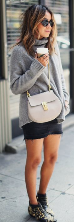 Julie Sarinana + cozy, modern outfit + fashionable and simplistic + Mini skirts + cool alternative + skinny jeans + show off your legs + stylish but casual way.  Mini skirt: Current/Elliott, Top: Aritzia, Purse: Chloe, Shoes: Chloe, Sunglasses: Illesteva