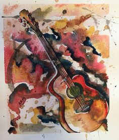 Jeff's Guitar  Watercolor and rice paper Art by Akey original