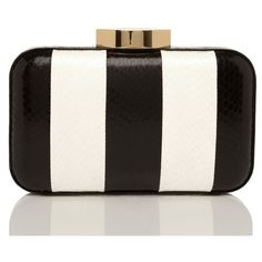 LULU GUINNESS Black and White Stripe Snakeskin Fifi Clutch ($495) ❤ liked on Polyvore