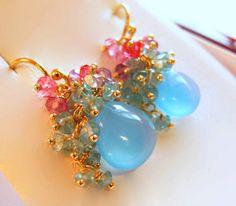 SALE - Bouquet - 14k Gemstone Cluster Earrings, Sapphire Cluster Earrings, Amethyst Cluster Earrings, Cluster Earrings on Etsy, $535.00