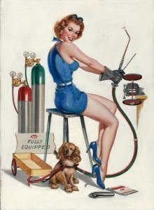 """Attributed to VAUGHAN ALDEN BASS (American, 20th Century) Fully Equipped (Meco Welding) Oil on canvas 30 x 22 in. Not signed This work is attributed to Vaughan Alden Bass; however, it comes with a letter from Gil Elvgren's son, Drake, stating why he believes this painting was his father's."""