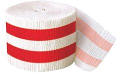 """[Single Pack] Crepe Paper Streamer Roll """"Striped Design"""" for Decoration and Craft Supply with 30 Ft / 9.1 M Length {Red and White Colors}"""