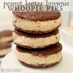 Brownie Whoopie Pies made with reeses peanut butter cup filling.  AMAZING.   (I can only imagine the Weight Watcher points).
