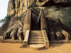 Siri Lanka. This extraordinary complex was built around 1,500 years ago and has as its main feature a nearly 700ft tall rock column with the ruins of a palace atop it. The entrance to this feature, also called the rock fortress, is composed of the ruins of a massive stone lion.