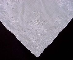 Unused Vintage Swiss Lace Wedding Handkerchief Paris Bride/'s Hankie