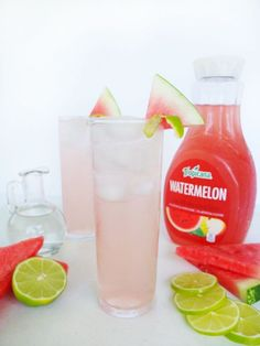 A recipe for a light, low ingredient, and easy blush colored cocktail called a Watermelon Gin Rickey Gin Drink Recipes, Gin Cocktail Recipes, Cocktail Drinks, Fun Drinks, Yummy Drinks, Alcoholic Drinks, Vodka Recipes, Drinks Alcohol, Party Drinks
