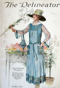 1917 Delineator magazine --A Style of Dress I'd Definitely Wear During the Heat and Humidity of Summer Here. Moda Vintage, Vintage Art, Vintage Ladies, Vintage Designs, Vintage Style, Edwardian Era, Edwardian Fashion, Vintage Fashion, Historical Costume