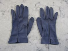 "Vintage Steel Gray Wrist Length Nylon Gloves---7.5"" long----Size 6 1/2 to 7--Glove Auction #1342 by PrimaMona on Etsy"