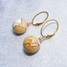Striking Brecciated Mookaite Jasper Hoop Earrings in Sterling Silver Vermeil